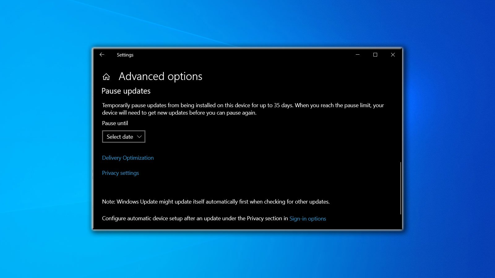 Microsoft removed the defer feature update setting in Windows 10